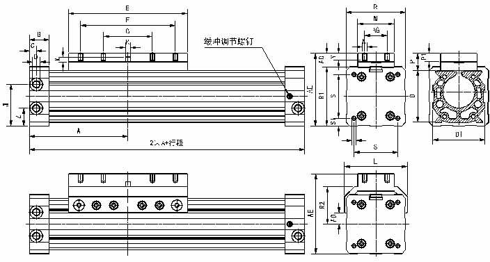 qgw系列机械接触式无杆气缸图片