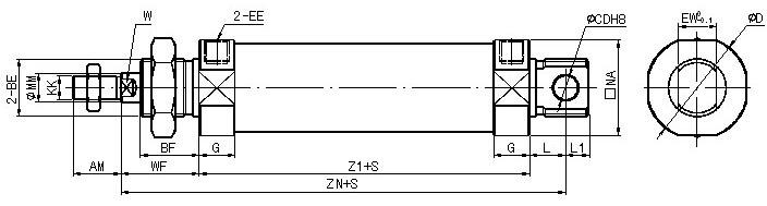 结构特点: QGY100*50气缸   1.气缸缸筒与缸盖选用螺纹连接,缸筒为铝合金材料,外形美观、轻巧,可拆装维修,有多种安装形式。    2.活塞杆表面选用预先滚压硬化处理,经镀硬铬、精磨处理,有良好的防锈、耐磨等特性。    3.密封件选用德国派克汉尼汾产品,可在无给润滑油情况下工作,起动压力低,寿命长。    4.