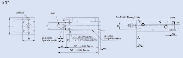 *磁性开关规格特性可参阅磁性开关之系列。 安装形式 安装适应性强的自由气缸