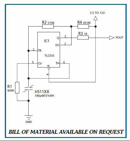 整个湿度传感器由于采用频率输出电路