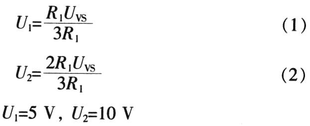 该电路产生5~10 V的阈值电压,分别将U2=10 V接引脚1,U1=5V接引脚3,这样三角波就在5~10 V内变化,即电容CT连接的引脚2电压在5~10V内变化。UK是从计算机输出经数模转换得到的电压,其范围为-10~+lO V,而UC3637需要5~10V的控制电压接引脚9和11,控制输出端的占空比。利用R2~R5对控制电压UK进行电平转换,令R2=10 kΩ、R3=18kΩ、R5=20 kΩ,当UK=-10 V时,应有UR=5 V,由电路分流可以获得:
