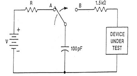 7)的等效电路图,其中人体的 等效电容定为100pf,人体的等效放电电阻定