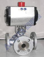 QJ(D/S)R3型-精小型气动三通球阀  气动三通球阀  气动三通球阀 三通法兰球阀