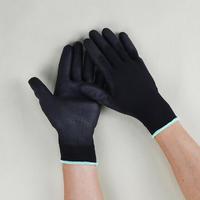 东莞厂家批发黑色PU涂掌手套 黑色工业手套