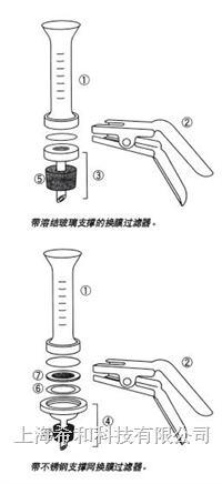Millipore微量分析换膜过滤器,25 mm,带熔结玻璃支撑物
