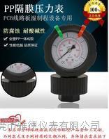 PCB线路板专用PP隔膜压力表湿制程设备耐酸碱防腐PP隔膜压力表