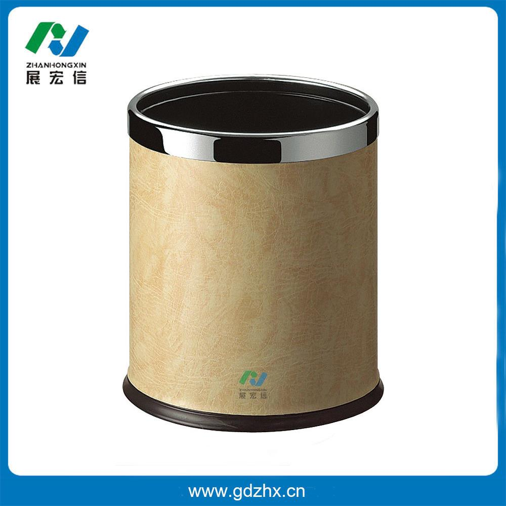 圆形双层垃圾桶(米黄色人造皮)