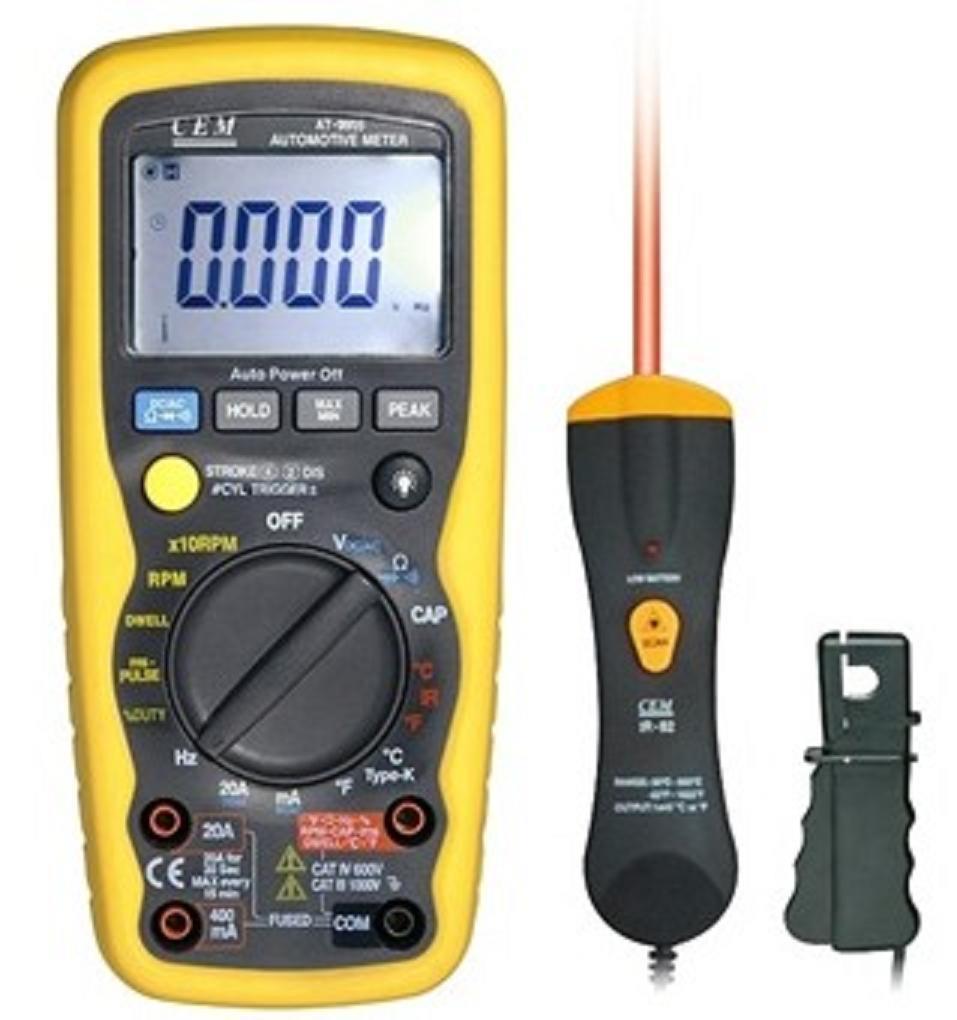 产品特征: 1、用感应钳夹可测量2-10汽缸的汽车发动机转速 2、4000位数字液晶显示屏带背光功能 3、14种功能包括:直流电压、交流电压、直流电流、交流电流、电阻、转速、汽缸、占空比、频率、温度、电容、短路及二极管测试 4、读取脉冲占空比和电子燃油喷射反馈化油器的闭合角、引燃 5、数据保持和相对值功能 6、过载提示 7、自动关机 8、保险丝电流输入和所有量程过载保护 9、测试毫秒脉冲宽度从而测量实时燃油喷射器、无效空气控制器、电子传送控制器
