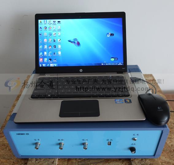 测试主机是与PC接口:USB。  信号源:仪器自带一个通道信号输出作为扫频的激励信号;信号输出为标准正弦波,信号输出幅度可以软件调节,最大幅度10V,信号输出阻抗为50。  两价目采集通道,一个采集激励信号,一个采集响应信号,用于计算传递函数。  采集通道量化精度:14位。  每通道最大存储容量:64K样点。  每通道最高采样率:25Msps。  采集通道输入阻抗:1M。  扫频测量范围:500Hz2000kHz。  扫描方式:采用线形分布的扫频测量方式。  扫描频率精度:信号